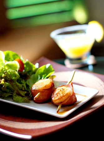 Grilled scallops in night life