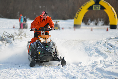 Khabarovsk, Russian - February 16, 2016 : snowmobiles in the competition winter sprint 2014