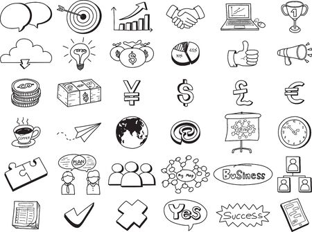 Illustration for vector icons business doodle set isolated on white background. Freehand style. - Royalty Free Image