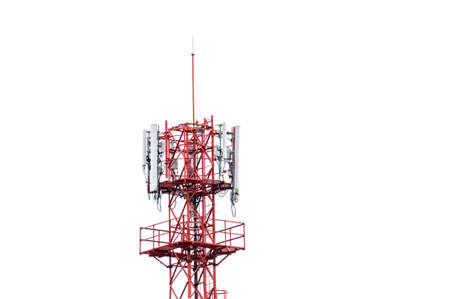 Photo pour Top of telecommunication tower with wireless antenna on white background - image libre de droit