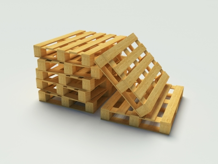 Wooden pallet on the white background