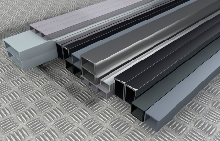 3D rendered illustration from Different size steel profils
