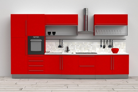 3d computer rendered illustration of modern kitchen