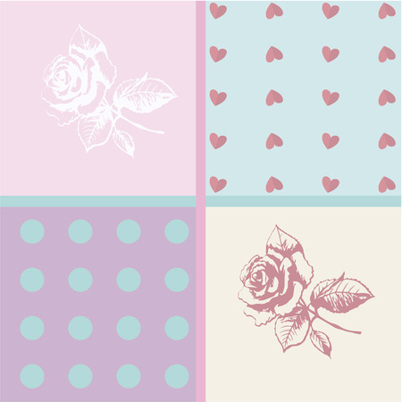 Greeting card with Valentine's Day is divided into four beautiful parts. Hearts, circles and flowers.