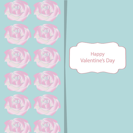 Greeting card with Valentine's Day with gently green backgrounds and roses. With a congratulatory text in the frame.