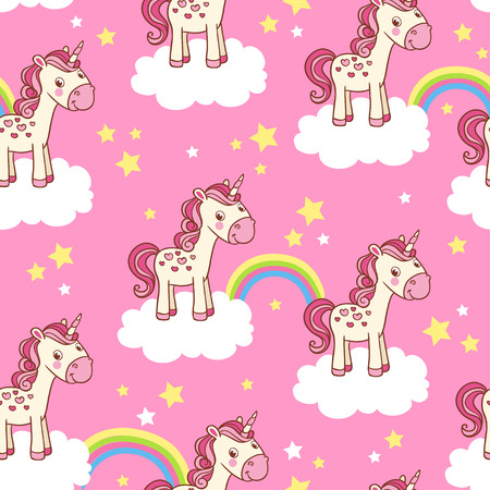 Illustration pour Vector childish background for girl. Vector seamless with cartoon illustration of horses in the clouds with a rainbow on a pink background. - image libre de droit