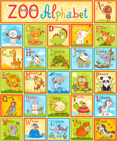 Illustration pour Vector alphabet with animals. The complete children's english animal alphabet spelt out with different fun cartoon animals. ABC. Zoo alphabet design in a colorful style. - image libre de droit