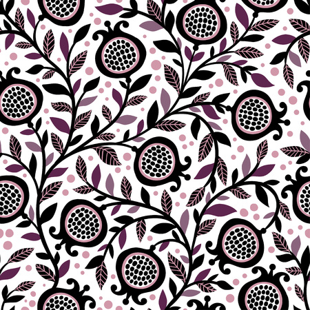 Illustration for Seamless floral pattern with decorative pomegranate fruits and leaves. Vector seamless illustration with berries on a white background. - Royalty Free Image