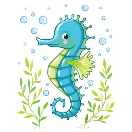 Illustration pour Cute cartoon Sea horse isolated. Seahorse and algae on a white background, vector illustration. - image libre de droit