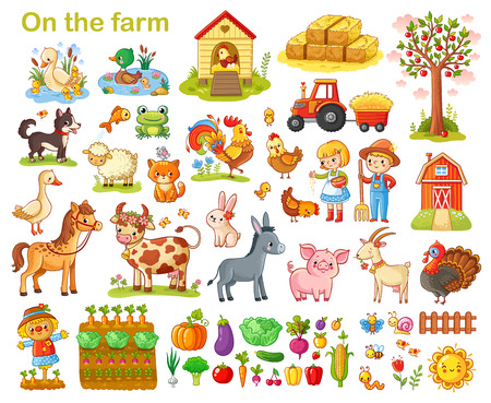 Foto de Farm set with animals, pets, livestock and vegetables on a white background. - Imagen libre de derechos