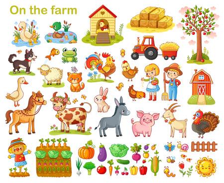 Ilustración de Farm set with animals, pets, livestock and vegetables on a white background. - Imagen libre de derechos