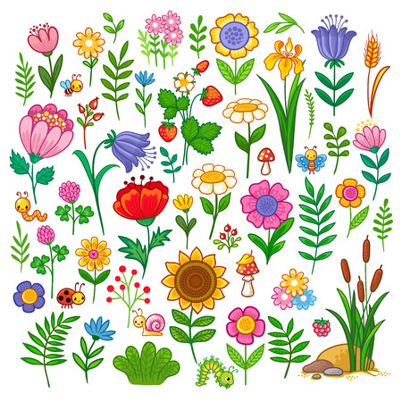 Illustration for Vector set with flowers. A sweet collection of insects and plants in the children's cartoon style. - Royalty Free Image