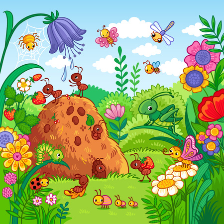 Ilustración de Vector illustration with an anthill and insects. Nature, flowers and insects in the children's style. - Imagen libre de derechos