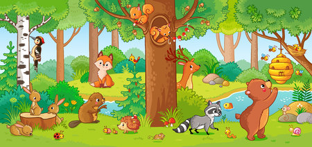 Illustration pour Vector illustration with cute forest animals in a children's style. A set of mammals in the forest. Collection in the children's style. - image libre de droit