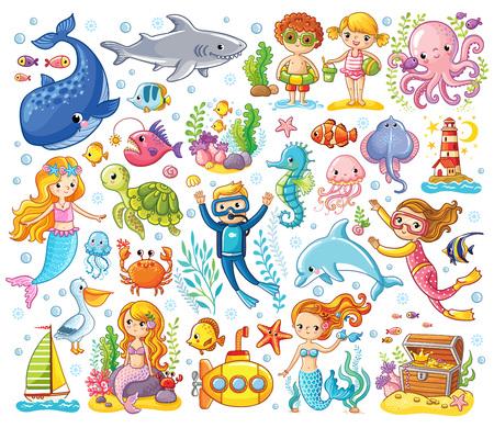 Illustration pour Vector set on a sea theme in a children's style. Sea animals. - image libre de droit