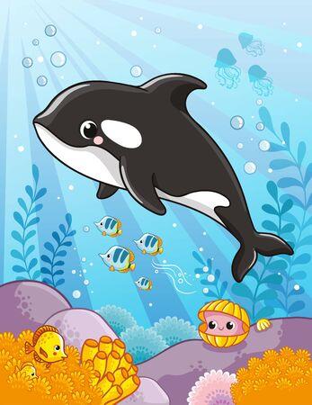 Illustration pour Cute killer whale in cartoon style. Vector illustration. - image libre de droit