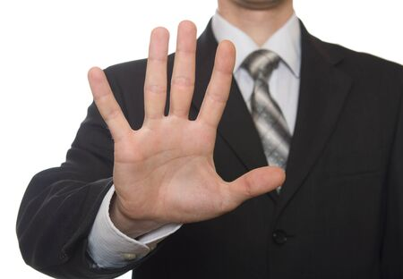 Photo for well shaped business man hand count isolated over white. five  - Royalty Free Image