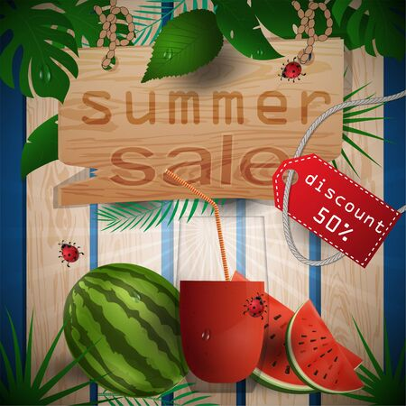 Ilustración de vector illustration of wooden boards, background of leaves, concept design for decoration on the theme of summer drinks with images of fruits, leaves and cups with juice with tags sales, clipping mask EPS 10 - Imagen libre de derechos