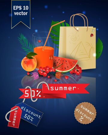 Ilustración de vector illustration of a glass with fruit and berry juice, standing on a mirrored surface among the leaves, with summer tags and discounts, EPS 10 - Imagen libre de derechos