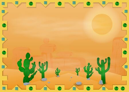 landscape vector illustration of a Mexican desert in the frame of the sun, the cacti and mountains