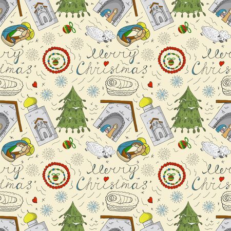 Orthodox Christmas color and contour illustration seamless pattern baby Doodle layout for wreath design Church barn lamb snowflakes Jesus background
