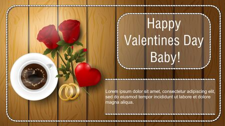 Valentines day greetings banner with space for text for postcard design decoration coffee Cup flowers roses rings and heart lie on wooden surface top view vector