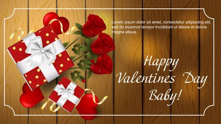 Valentines day greetings banner with space for text for postcard design decoration gift boxes flowers three roses hearts top view vector