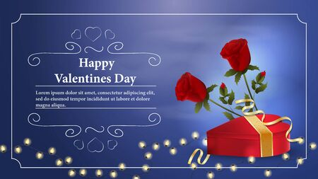 Valentines day greetings banner with space for text for postcard design decoration heart shaped gift box flowers roses garland of light bulbs vector