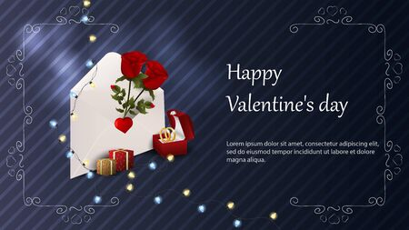 Valentines day greetings banner with space for text for postcard design envelope with roses box with wedding rings gift boxes garland vector
