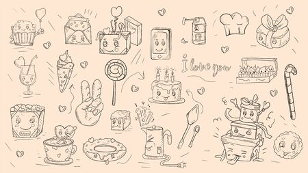 Illustration for set of outline stickers icons in Doodle style theme is festive food gifts home appliances kawaii background is isolated for decoration design vector EPS 10 - Royalty Free Image