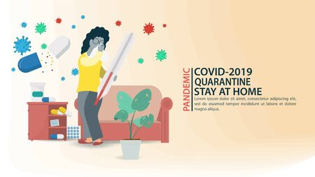 banner, little people in a mask, a patient stands with a thermometer to measure the temperature, among drugs in quarantine, among COVID-2019 molecules, the virus 2019-nCoV, flat vector illustration