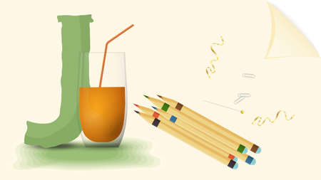 Illustration pour illustration of a banner layout, English alphabet for learning the alphabet, letter J juice, on a sheet of paper with colored pencils - image libre de droit