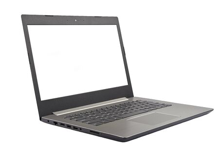Photo for The laptop of gray color is isolated on a white background. - Royalty Free Image