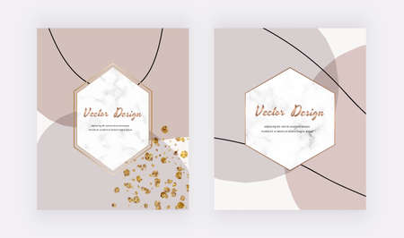 Illustration pour Abstract mid century design covers with nude and brown shapes, lines and marble frames - image libre de droit