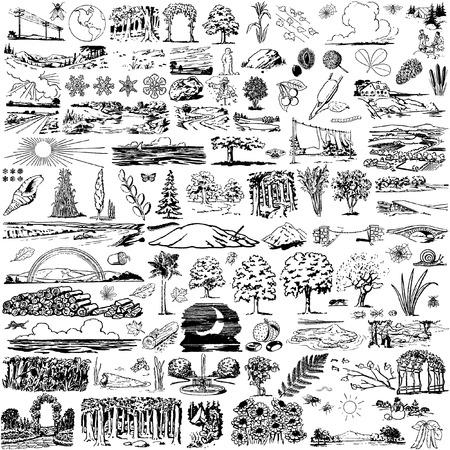 Illustration pour the collection of nature view`s silhouettes - image libre de droit