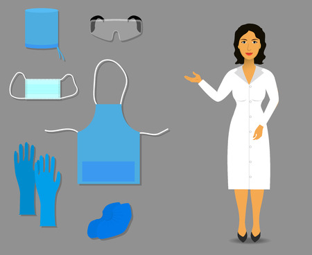Illustration pour Nurse shows Medical clothing and accessories for work - image libre de droit