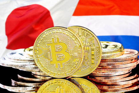 Concept for investors in cryptocurrency and Blockchain technology in the Netherlands and Japan. Bitcoins on the background of the flag Dutch and Japan.
