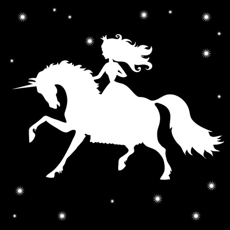 princess and unicorn silhouettes on a black background