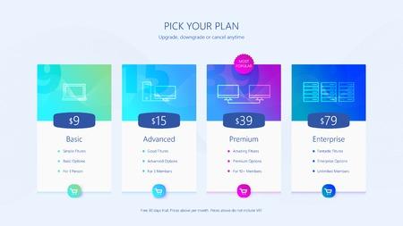 Illustration pour Pricing table UI design Vector illustration. - image libre de droit