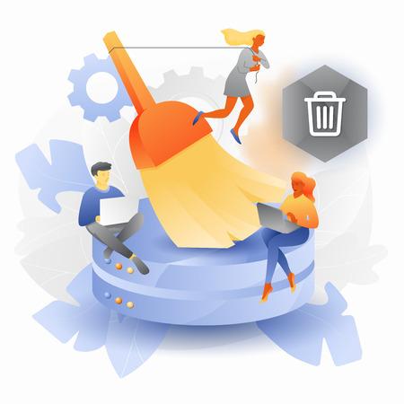 Illustration pour Vectorillustration of database cleansing. Tiny developers with big brush cleaning up hard disks. - image libre de droit