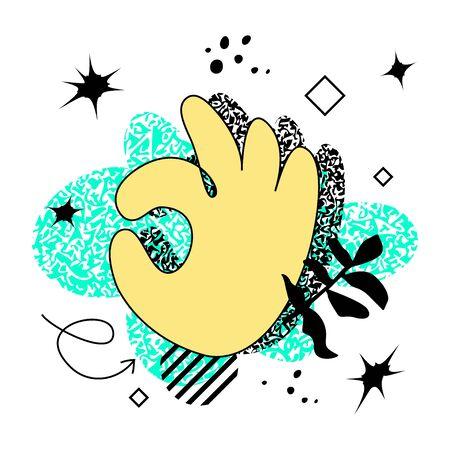 Ilustración de Abstract bold colored hand in OK gesture over bright neon background. Swiss punk design - Imagen libre de derechos