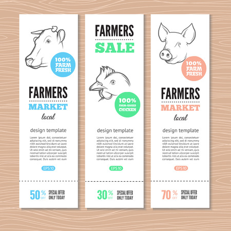 Vertical banners with cow, pig and chicken. Perfect for farm market advertising, farming industry and meat product business. Modern business identity for bio products and agricultural industry.