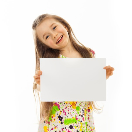 Cute little girl with white sheet of paper  Isolated on white background