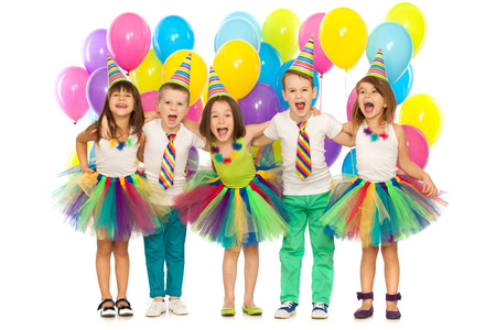 Photo for Group of joyful little kids having fun at birthday party. Isolated on white background. Holidays, birthday concept. - Royalty Free Image