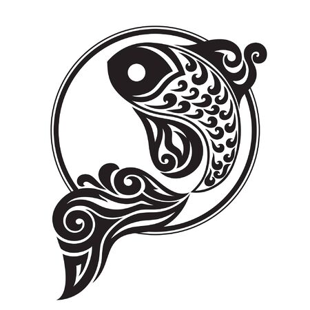 black and white drawing of a fish on a contrasting background circle