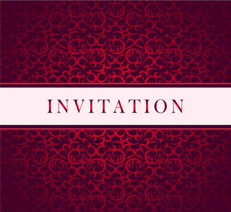 Illustration for  Invitation red ornament card - Royalty Free Image