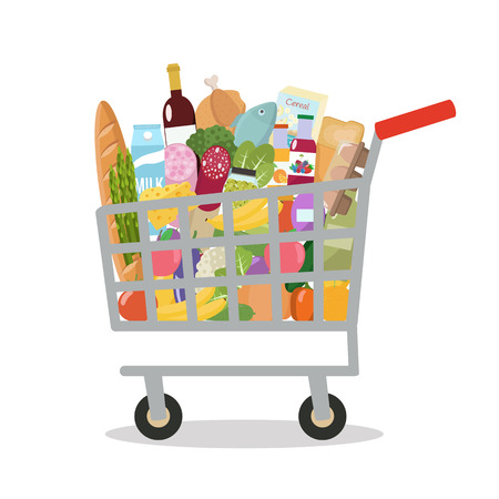 Illustration for Grocery in a shopping cart. Vector illustration. Flat design. - Royalty Free Image