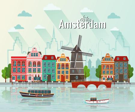 Illustration pour Vector illustration of Amsterdam. Old european city. - image libre de droit