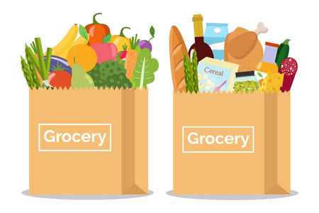 Illustration for Grocery in a paper bag and vegetables and fruits in paper bag Vector illustration Flat design. - Royalty Free Image
