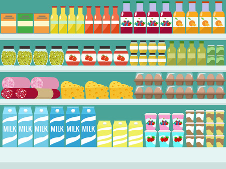 Illustration for Store shelves with groceries, food and drinks. Vector flat illus - Royalty Free Image